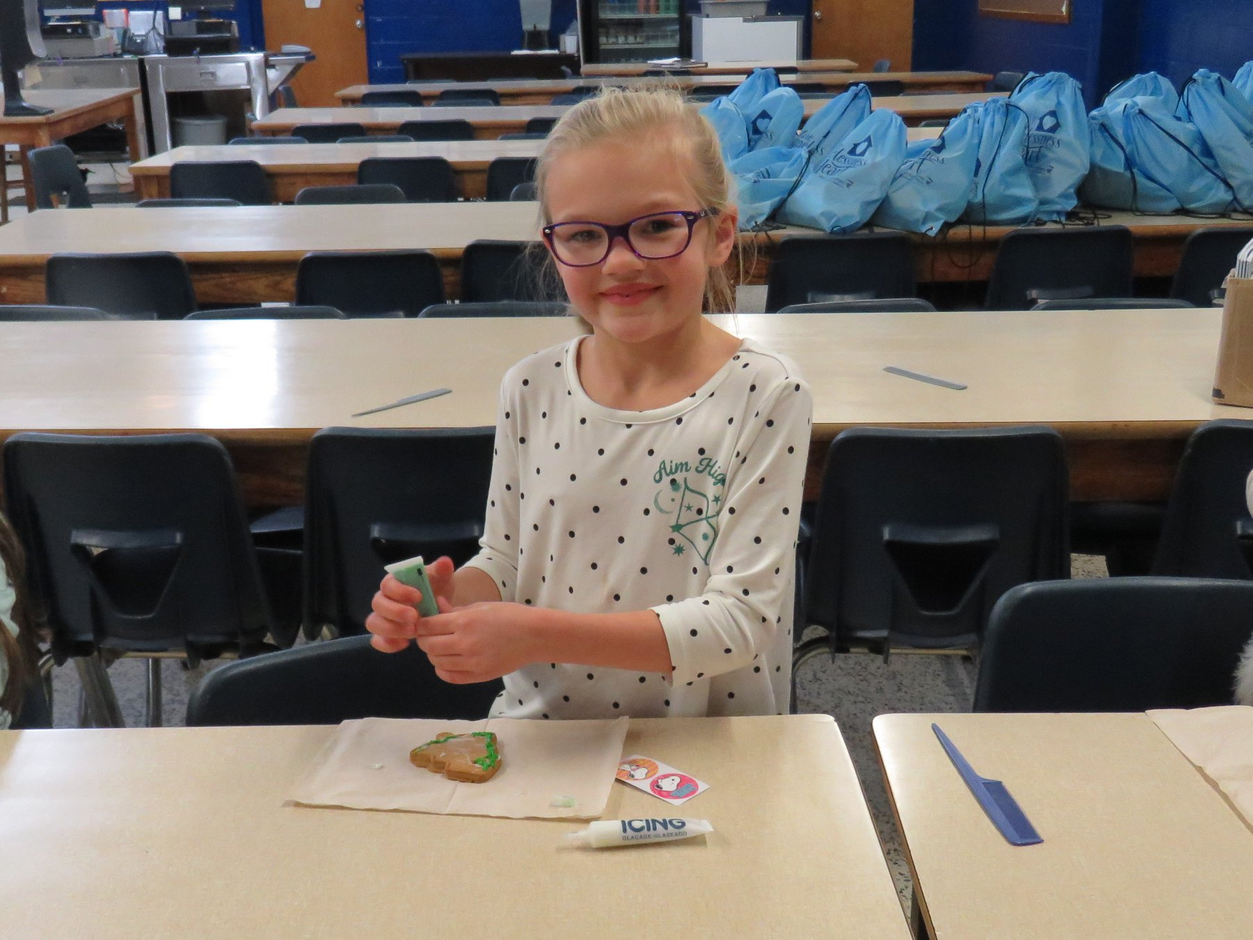 Image of girl decorating cookies
