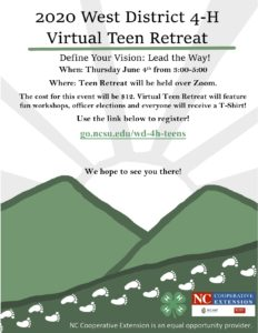 Cover photo for West District 4-H Virtual Teen Retreat Register Now!!