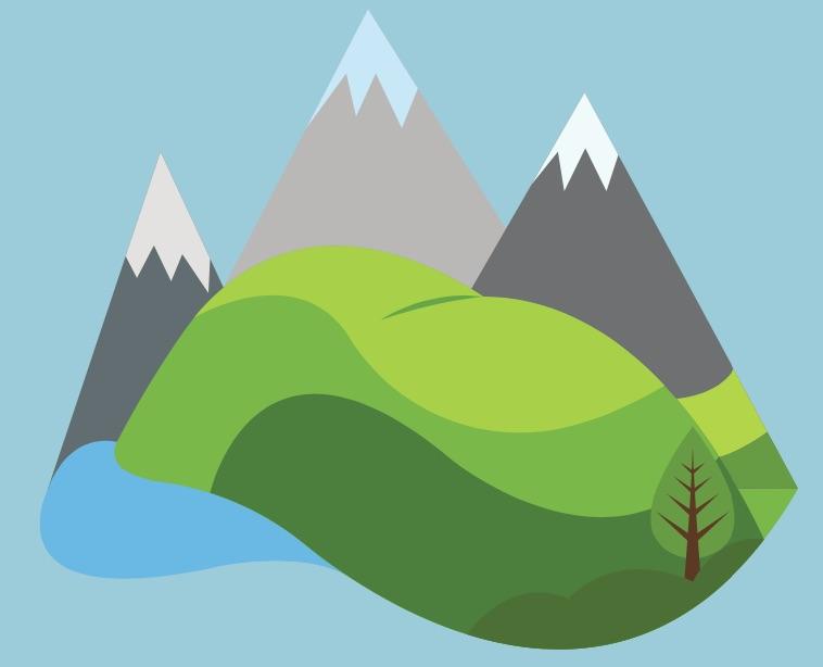 Drawing of mountain peaks
